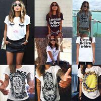 Fashion Women Casual Loose Chiffon Blouse Short Sleeve Shirt T-shirt Summer Tops