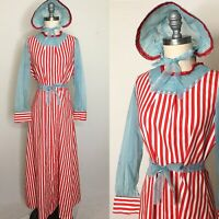 Vintage 60s 70s Red & White Striped Swiss Dot Circus Dress Size Large
