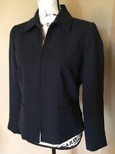 Emma James Liz Claiborne petite Blazer Jacket Size 6P blue zip up, straight edge