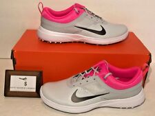 NIKE WOMENS SIZE 7 AKAMAI GOLF SHOES PURE PLATINUM PINK COOL GREY SOFT SPIKE