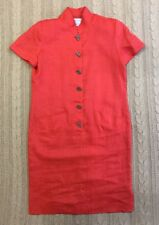 Maggy London Shift Dress Orange Button Front Mandarin Collar Short Sleeve SZ 12