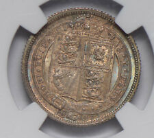 Great Britain 1887 6 Pence silver NGC MS63 jubilee head shield NG0653 combine sh