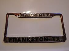Bacon Frankston TX License Plate Frame Embossed Tag Vintage Metal Chevrolet GM