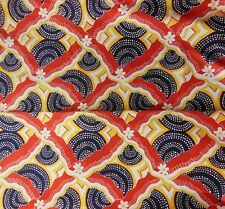"VTG Silky Fabric Hippie Psychedelic Red Blue Flower Power 3+ yards-46"" wide"