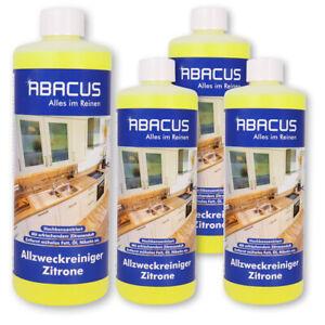 (18,23€/L) 4x 1 L  ABACUS Allzweckreiniger Zitrone Fettlöser Universalreiniger