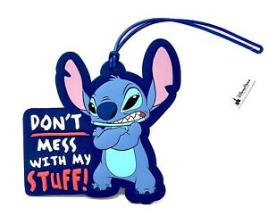 Disney Parks Stitch Don't Mess With My Stuff! Vinyl Luggage Tag NEW