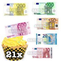 Euro € Spielgeld Muster Scheine Eßbar Tortenbild Party Deko Muffinaufleger neu