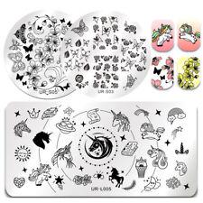 3Stk/Set UR SUGAR Nagel Stempel Schablone Blume Schmetterling Maniküre Templates