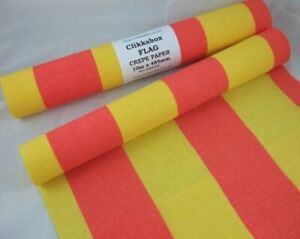 1 Red/Yellow Flag Flame Retardant Crepe Paper Roll 10m x48.5cm by clikkabox