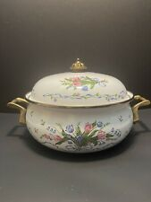 Lincoware 4 qt Enamelware Brass Tulip French Fleur Covered Buffet Dutch Oven