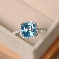 2 3/4 Ct Cushion Halo Aquamarine Engagement Wedding Ring 18K White Gold Finish