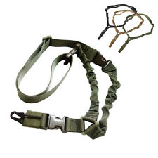 Tactical Adjustable One Single Point Rifle Gun Sling Bungee Strap Snap Hook Cord