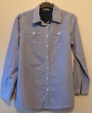 Blau/weiß gestreifte Bluse Langarm mit 2 Brusttaschen Gr. 40