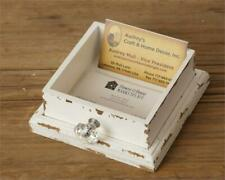 Shabby Chic White BUSINESS CARD HOLDER Drawer Vintage Farmhouse Rustic New