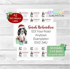 Cocker Spaniel (Roan) 42 Personalised Christmas Return Address Labels/Stickers