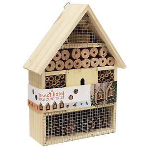 Large Insect Bug Bee Hotel Hanging Wooden House Ladybird Nest Wood Shelter Box