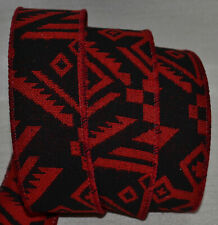 """Wired Ribbon~Woven Jacquard~Southwest Christmas~Red~Black~1.5""""~ Holiday~Gift~Bow"""
