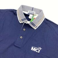 NEW Vintage MCI Polo Shirt by VCC Navy Blue 100% Cotton • Size XL