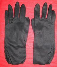 Vintage Black Nylon Shirred/Shirring Women's Wrist Length Dress Gloves Size B 7