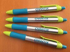 DRUG REP PENS 4 CHANTIX Silver / Blue / Neon Colors VINTAGE! COLLECTIBLE!