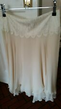 ralph lauren skirt 100% silk formal size 8 lace detail cream knee length floaty