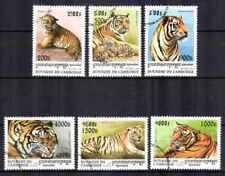 Animaux Tigres Cambodge (25) série complète 6 timbres oblitérés