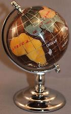 Genuine Multi-Gemstone Desktop Globe Chrome Base Copper / Brown Globe Free S & H