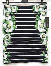 Rock schwarz weiß N2 MARC CAIN Gr.36 grün Blumen Streifen SAHNETEIL edel NP250€