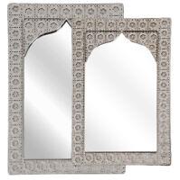Wandspiegel Eisen spiegel Rahmen silber Wohnraumspiegel Dekorativer 38 x 56 cm