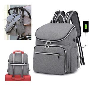Stroller Bags Baby Nursing Diaper Backpack Nappy Bag Maternity Mommy USB Handbag