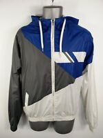 MENS DENIM CO BLUE GREY WHITE ZIP UP LIGHTWEIGHT SHELL JACKET HOODED M MEDIUM