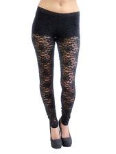 Vivian's Fashions Long Leggings - Sexy Lace. Black. Size Small