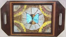 Vintage Butterfly Serving Tray beautiful design on edge wooden decorative art