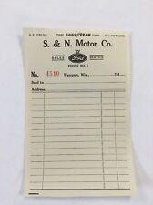 Vintage 1940's Ford Dealer Sales Ticket Receipt Good Year S&N Motor Co Waupun Wi