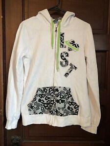 Lost Apparel White Leopard Cheetah Hoodie Size M Medium Emo Scene Hot Topic