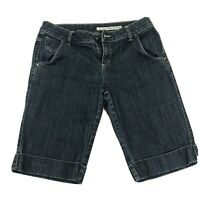 "DKNY Jean Bermuda Shorts Dark Wash Mid Rise Size 10 Women""s Stretch Shorts EUC"