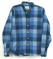 Hollister Mens XL Stretch Epic Flex Blue Plaid Long Sleeve Button Down Shirt