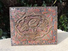 163. Antique Carved  Wood Panel w/ Rose