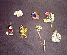 Pendants Pins Charms Misc Lot Vintage Flag Elephant Mickey Mouse Santa (6) Pcs