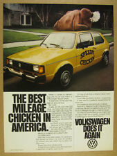 1981 vw Volkswagen Diesel Rabbit yellow chicken delivery car photo print Ad