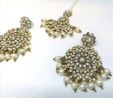 Uk Bollywood Big Indian Earring & Tikka Set Head Peice Gold Lct/Crystal Pearls