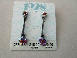 Vintage 1928 COLLECTION 1980s Red Aurora Borealis Dangle Earrings Pierced NEW