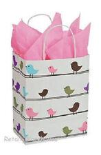 25 Paper Bags Spring Birds Green Purple Cub Merchandise Shopping 8 X 4 X 10