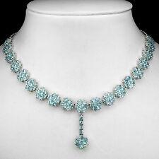 Plata Esterlina 925 Natural Genuino Sky Blue Topaz Collar De Flores De 18,5 Pulgadas