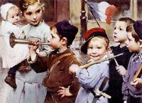 Oil painting henry jules jean geoffroy - july 14th bastille day lovely children