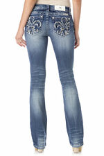 MISS ME SIZE 30, FREELOVE FLEUR MID-RISE BOOT CUT JEANS  MP7302B