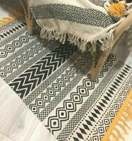 Monochrome Scandi Boho Rug Mat Woven Cotton Geometric Print Fringed Tassels