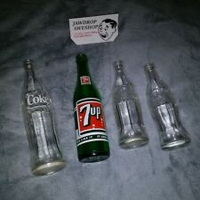 LOT OF 4 VINTAGE ANTIQUE SODA BOTTLES (1x 7 UP Brand, 3x Coca-Cola Brand) Great!
