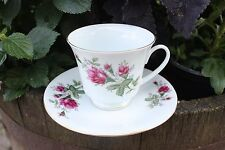PINK ROSE BUD CERAMIC TEA CUP & SAUCER SET WITH GOLD TRIM MADE IN CHINA