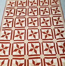 "Beautiful Vintage Handmade Patchwork 8 Point Star Quilt Country 80""W x 96""L"